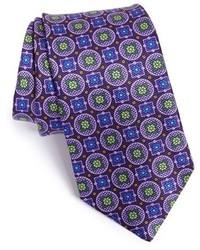 Corbata estampada morado oscuro de Ike Behar