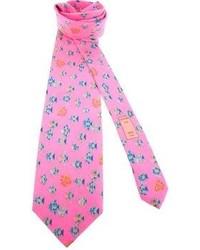 Corbata estampada rosa