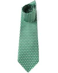 Corbata estampada verde de Salvatore Ferragamo