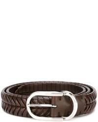 Correa de cuero tejida en marrón oscuro de Brunello Cucinelli