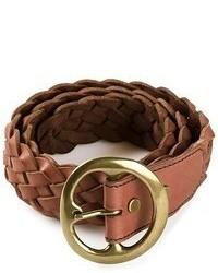 Correa de cuero tejida marrón de B-Low the Belt