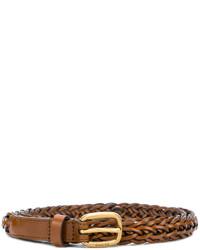 Correa de cuero tejida marrón de Gucci
