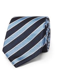 Cravate à rayures verticales bleu marine Hugo Boss