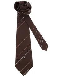 Cravate à rayures verticales brun foncé Pierre Cardin