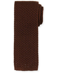 Cravate en soie en tricot brune foncée Tom Ford