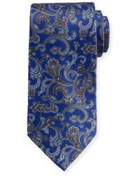 Cravate en soie imprimée cachemire bleue marine Stefano Ricci