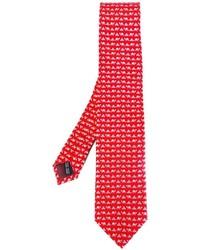Cravate imprimé rouge Salvatore Ferragamo