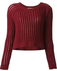 Step up your off-duty look in a burgundy pencil skirt and a cropped sweater.