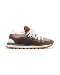 Brunello Cucinelli Metallic Mesh Leather And Suede Sneakers