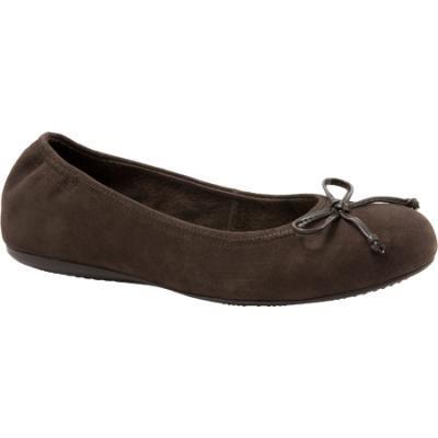 SoftWalk Narina Dark Brown Kid Suede Ballet Flats