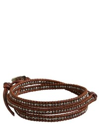 Chan Luu Burnt Sienna Leather And Sterling Silver Bead Wrap Bracelet