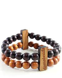 Domo Beads Dark Brown Light Brown Double Bracelet