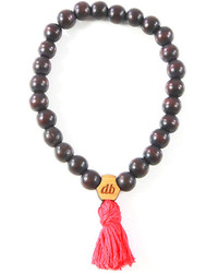 Domo Beads Mala Bracelet Brown On Red