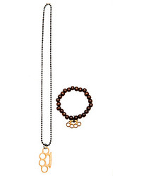 Vallour Brass Knuckles Ball Chain Necklace And Bracelet Combo