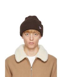 MAISON KITSUNÉ Brown Ribbed Fox Patch Beanie