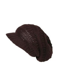 CTM Slouchy Beanie Beret In Chunky Knit Brown One Size