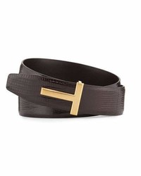 Tom Ford Lizard T Buckle Belt Brown