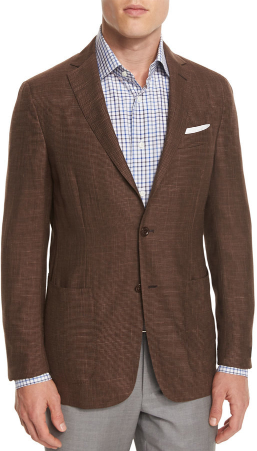 Ermenegildo Zegna Capri Check Two Button Sport Coat Brown | Where ...