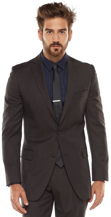 Marc Anthony Slim Fit Striped Brown Suit Jacket | Where to buy ...