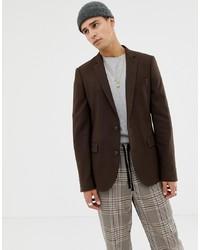 ASOS DESIGN Skinny Blazer In Brushed Brown