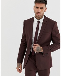New Look Skinny Fit Suit Jacket In Burgundy