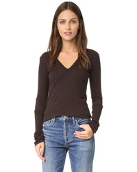 Enza Costa Cashmere Cuffed V Top