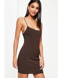 Missguided Brown Seam Detail Strappy Bodycon Dress