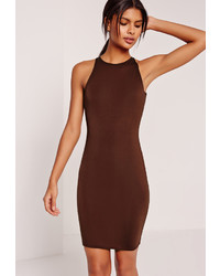 Missguided Jersey Bodycon Mini Dress Brown