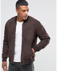 Men's Dark Brown Bomber Jackets from Asos | Men's Fashion