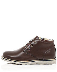River Island Boys Brown Leather Fleece Lined Boots