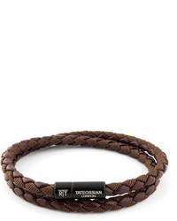Tateossian Chelsea Double Wrap Braided Bracelet Brown