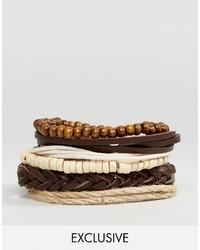 Reclaimed Vintage Inspired Bracelet Pack In Brown