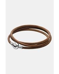 Pandora Leather Wrap Charm Bracelet Brown