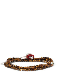 Isaia Saracino Tigers Eye And Silver Wrap Bracelet