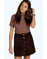 Boohoo Adalyn Cord Button Through Mini Skirt