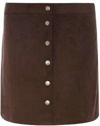 Dorothy Perkins Tall Chocolate Button Up Mini Skirt