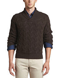 Dark Brown Cable Sweaters for Men | Men's Fashion