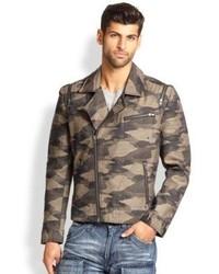 Dark Brown Camouflage Biker Jacket