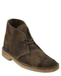 Dark Brown Camouflage Leather Desert Boots