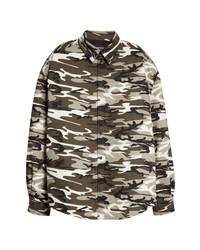 Dark Brown Camouflage Long Sleeve Shirt