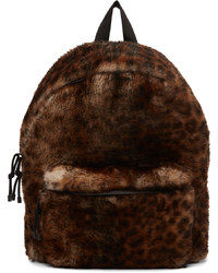 Vetements Brown Black Shearling Leopard Backpack