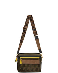 Fendi Khaki And Brown Medium Messenger Bag
