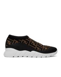 Fendi Brown And Black Forever Slip On Sneakers
