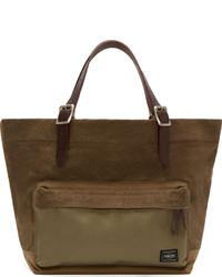 Khaki leather canvas tote bag medium 130223
