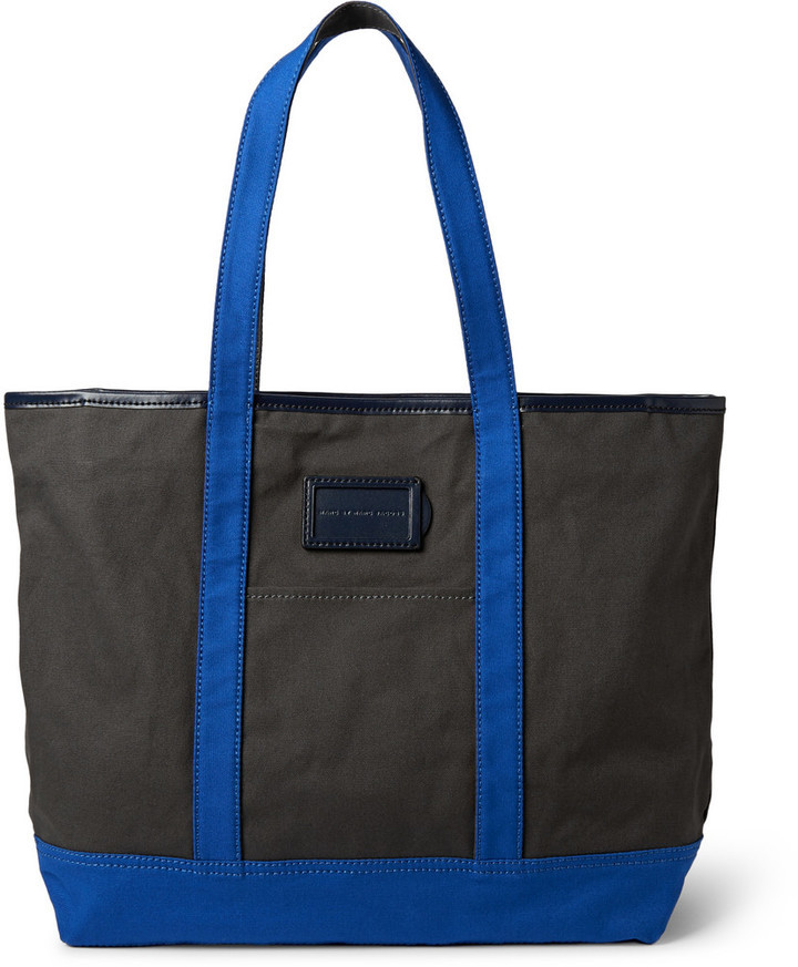 bf03becd6d58 ... Marc by Marc Jacobs Take Me Homme Jimmy Leather Trimmed Cotton Canvas  Tote Bag ...