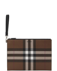 Burberry Brown E Canvas Large Zip Pouch