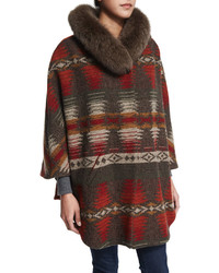 Neiman Marcus 34 Sleeve Woven Cape With Fur Collar