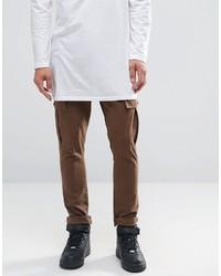 Asos Super Skinny Cargo Pants In Brown