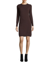Neiman Marcus Cashmere Collection Long Sleeve Crewneck Cashmere Dress