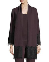 Neiman Marcus Cashmere Collection Cashmere Lace Trim Open Front Cardigan